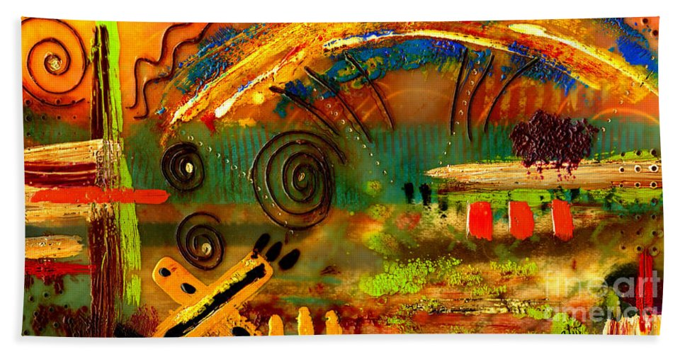 Wood Beach Towel featuring the mixed media The Journey Back Home by Angela L Walker
