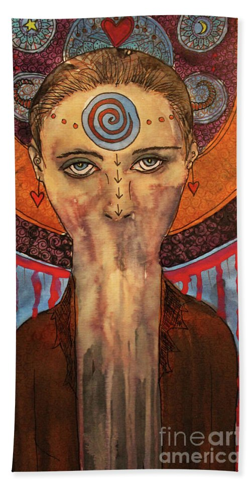 Too Often As Women We Fail To Speak Our Truth. The Keeper Of Secrets With Her Haunting Eyes And Lack Of Feminine Attributes Creates A Profound Statement Against Those Who Would Silence Us. Be Brave Beach Towel featuring the mixed media The Keeper Of Secrets by Lauri Jean