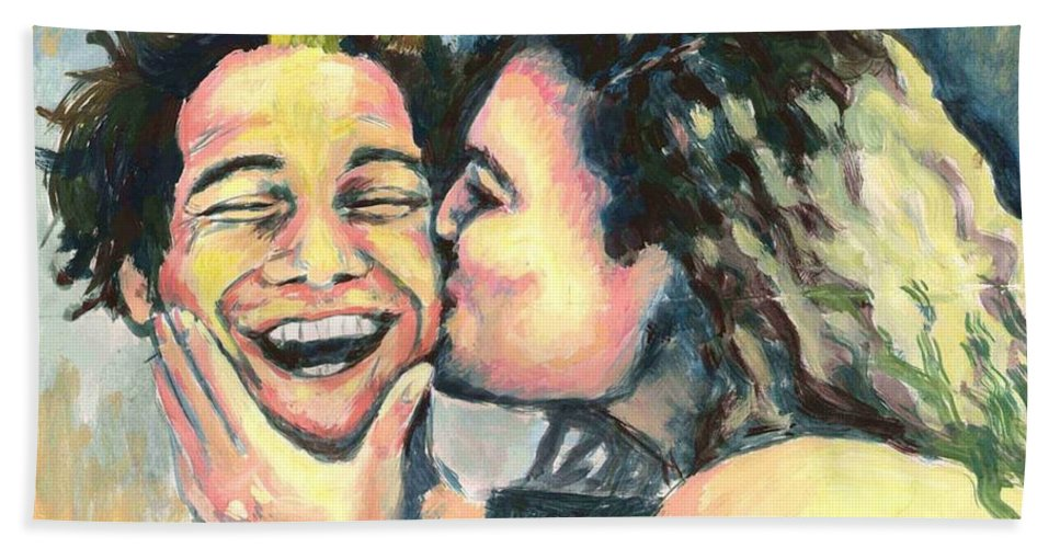 Man Beach Sheet featuring the painting The Kiss by Nicole Zeug