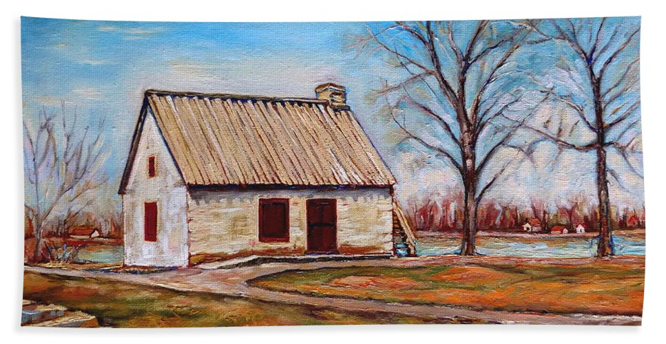 Ile Perrot Beach Towel featuring the painting The Lake House by Carole Spandau