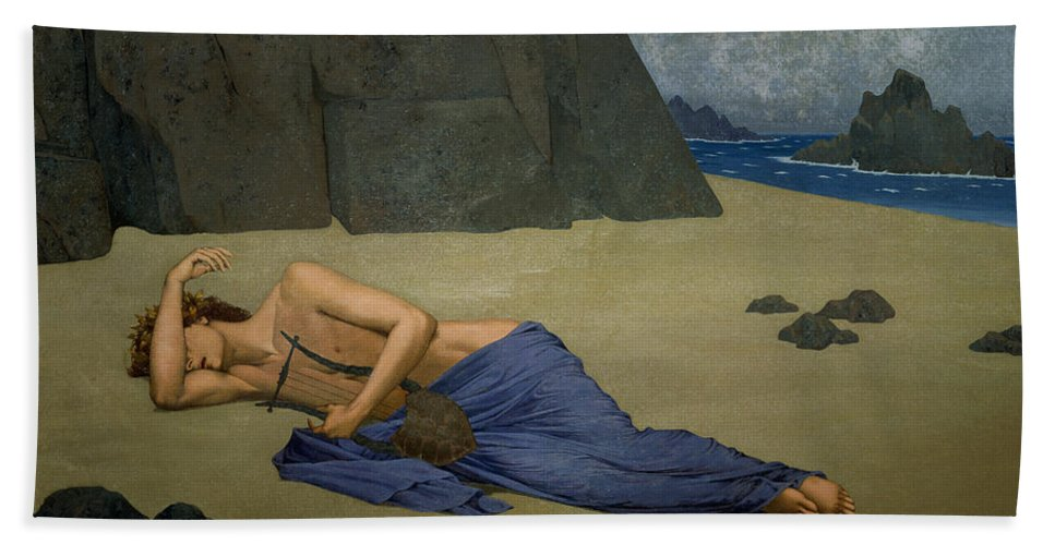 The Lamentation Of Orpheus By Alexandre Seon (1855-1917) Beach Towel featuring the painting The Lamentation Of Orpheus by Alexandre Seon