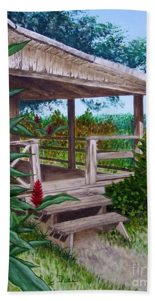 House Beach Towel featuring the painting The Lanai by Mary Deal