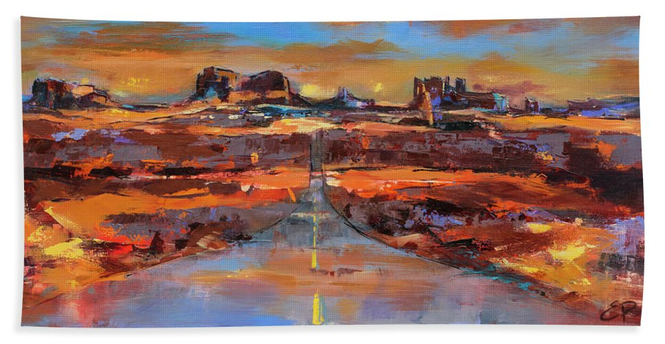Monument Valley Beach Towel featuring the painting The Land Of Rock Towers by Elise Palmigiani