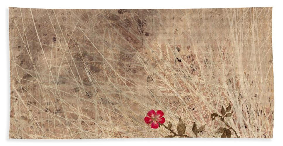 Abstract Beach Towel featuring the digital art The Last Blossom by William Russell Nowicki