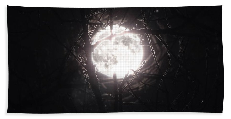 Night Beach Towel featuring the photograph The Last Nights Moon by September Stone