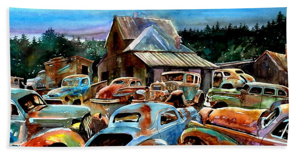 Old Cars Beach Towel featuring the painting The Last Stand by Ron Morrison