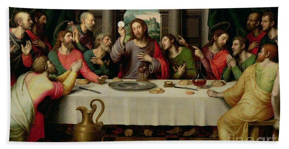 The Last Supper By Vicente Juan Macip Beach Towel featuring the painting The Last Supper by Vicente Juan Macip