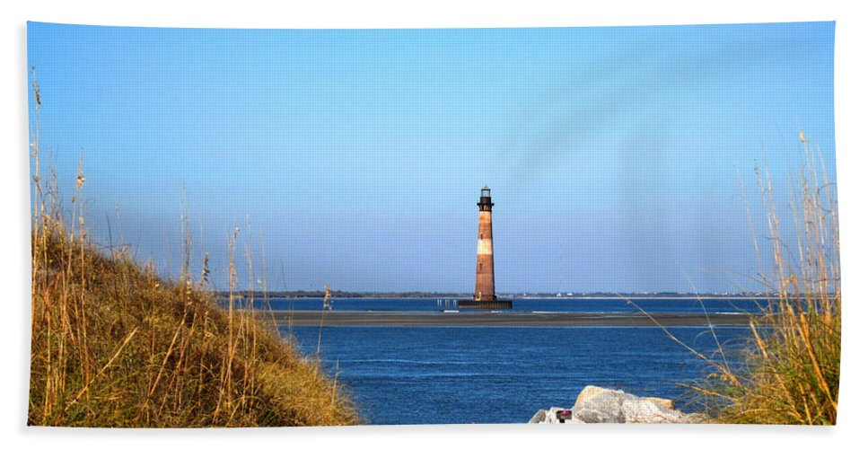 Photography Beach Towel featuring the photograph The Lighhouse At Morris Island Charleston by Susanne Van Hulst