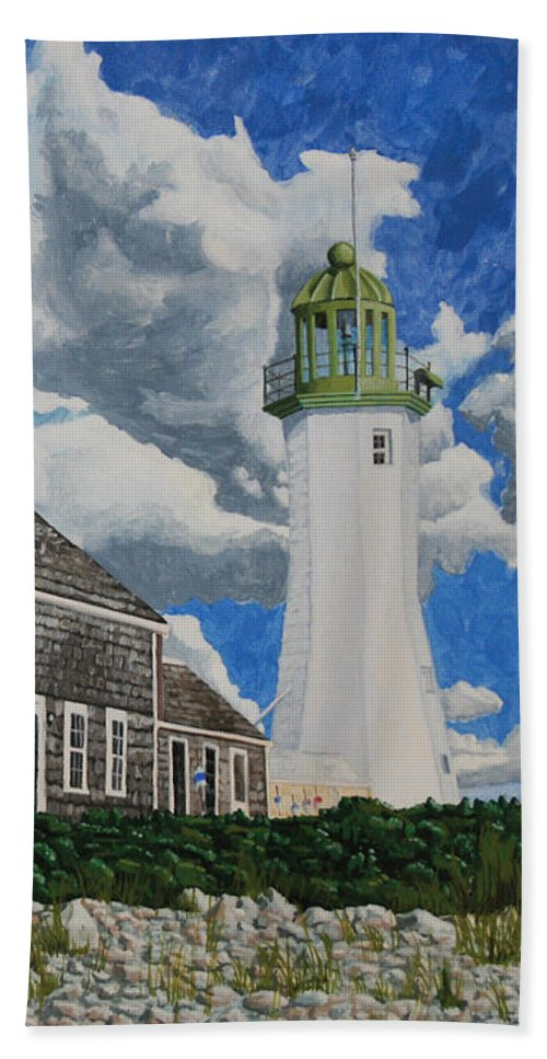 Lighthouse Beach Sheet featuring the painting The Light Keeper's House by Dominic White