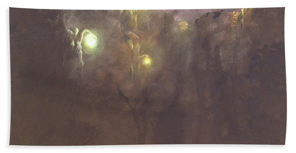Trees Beach Towel featuring the painting The Light Tree Series Into The Void II by Karen Tagstrom