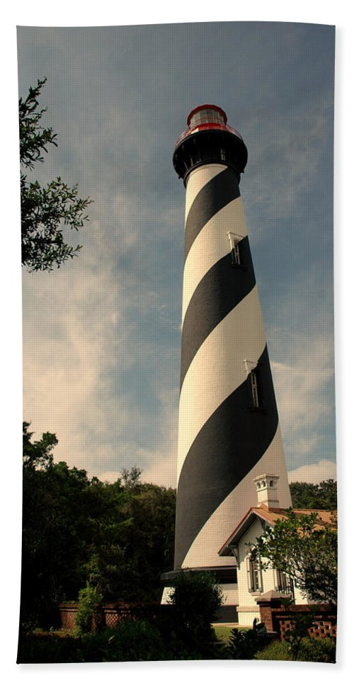 Lighthouse Beach Towel featuring the photograph The Lighthouse In St.augustin Fl by Susanne Van Hulst