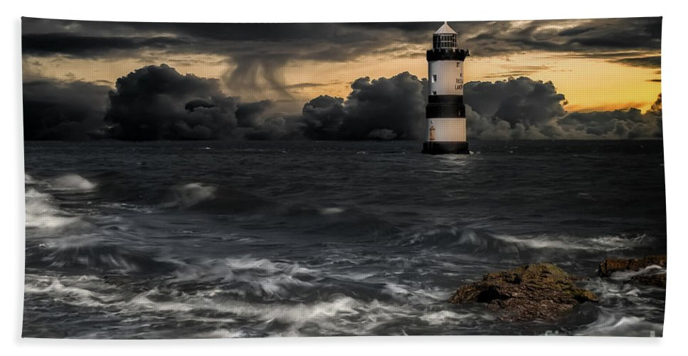 Lighthouse Beach Towel featuring the photograph The Lighthouse Storm by Adrian Evans