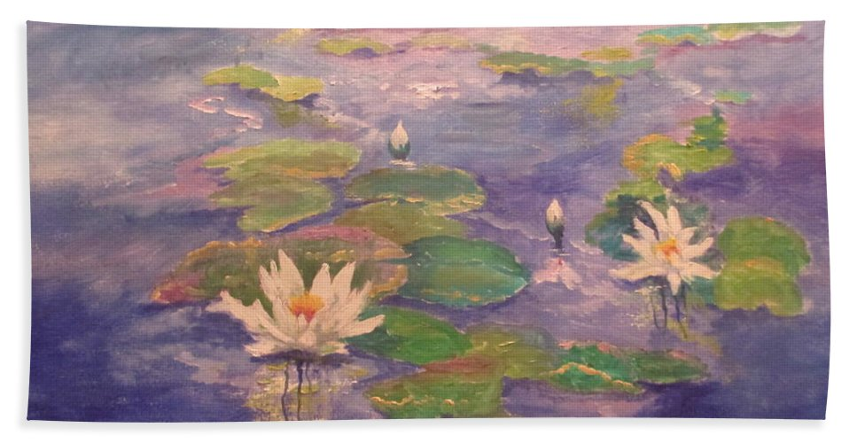 Lily Pond Beach Towel featuring the painting The Lily Pond by Sandra Golkowski