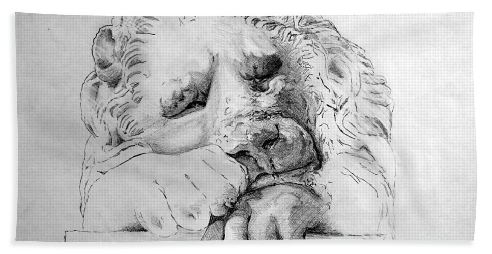 Lion Beach Towel featuring the drawing The Lion by Adam Vance