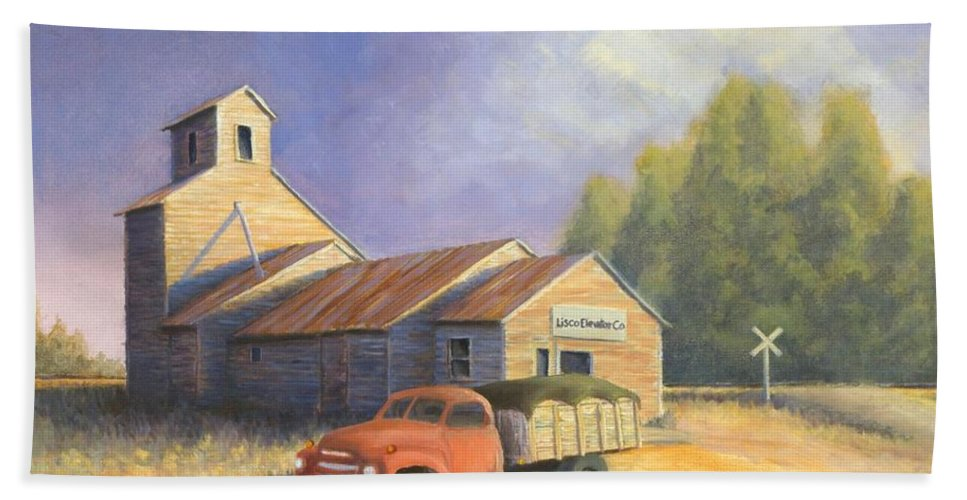 Nebraska Beach Sheet featuring the painting The Lisco Elevator by Jerry McElroy