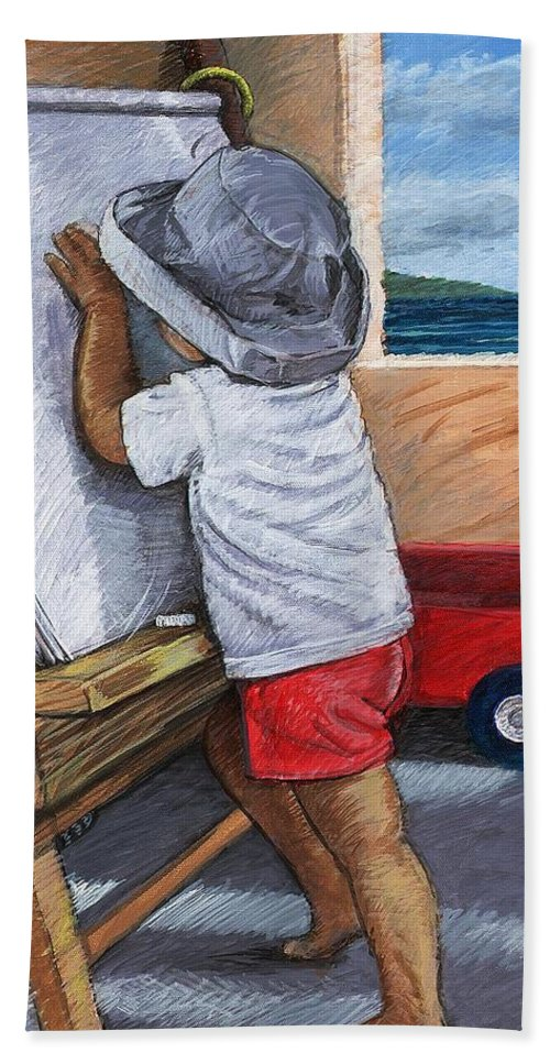 Young Artist Beach Sheet featuring the painting The Little Artist by Snake Jagger