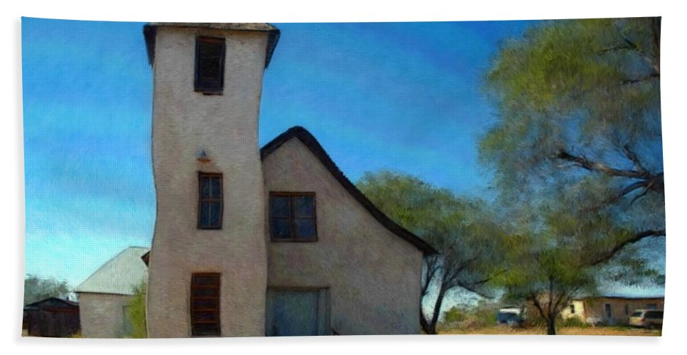 Church Beach Towel featuring the mixed media The Little Church by Snake Jagger