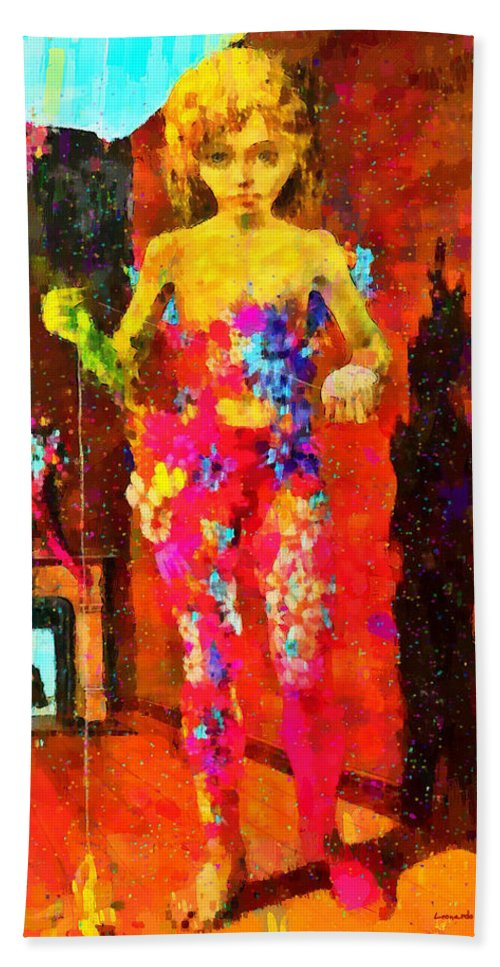 The Little Girl Beach Towel featuring the painting The Little Girl - Pa by Leonardo Digenio