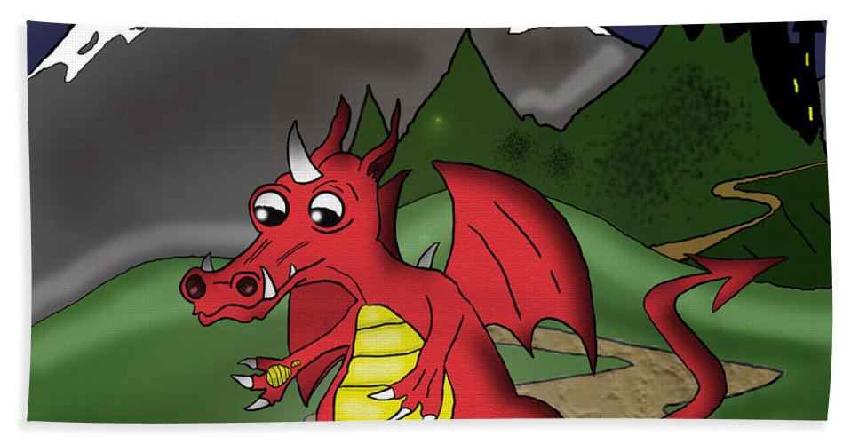 Dragon Beach Towel featuring the drawing The Little Red Dragon by Kev Moore