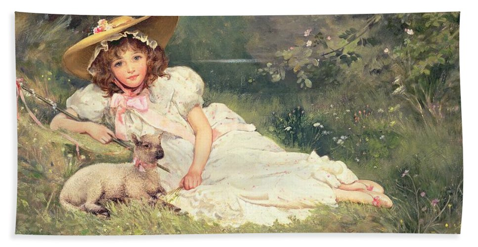 The Little Shepherdess Beach Towel featuring the painting The Little Shepherdess by Arthur Dampier May