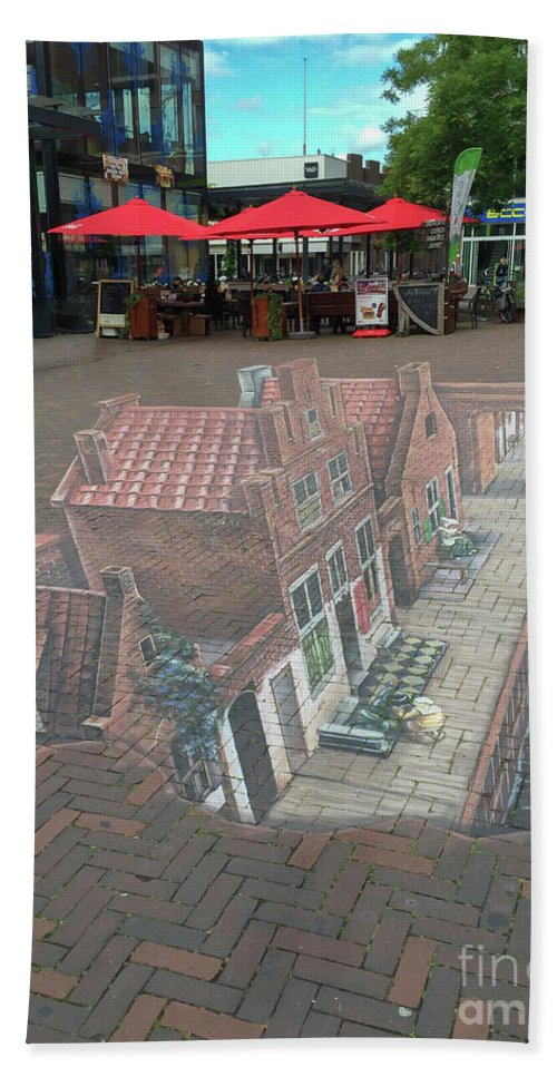 Art Beach Towel featuring the photograph The Little Street By Vermeer In 3d by Patricia Hofmeester