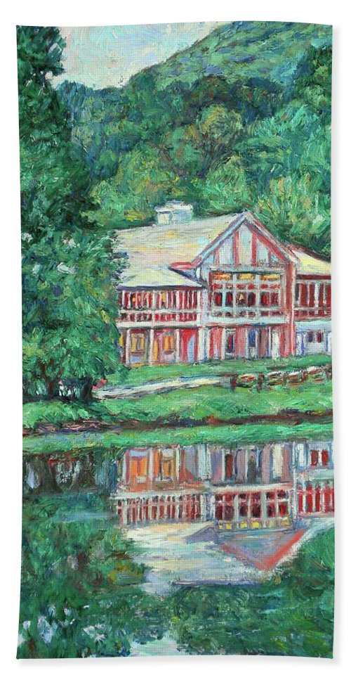 Lodge Paintings Beach Sheet featuring the painting The Lodge At Peaks Of Otter by Kendall Kessler