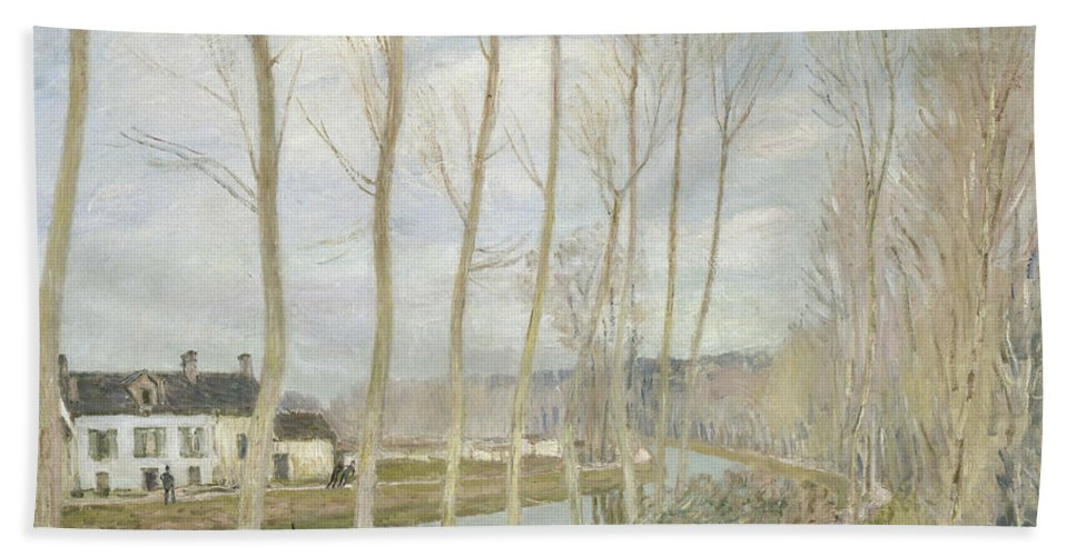 Alfred Sisley Beach Towel featuring the painting The Loing's Canal by Alfred Sisley