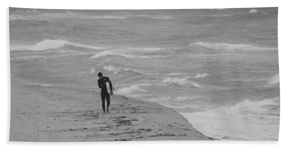 Black And White Beach Towel featuring the photograph The Lonely Surfer Dude by Rob Hans