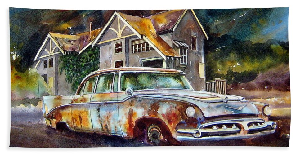 Old Dodoges Beach Towel featuring the painting The Lonesome Hotel by Ron Morrison