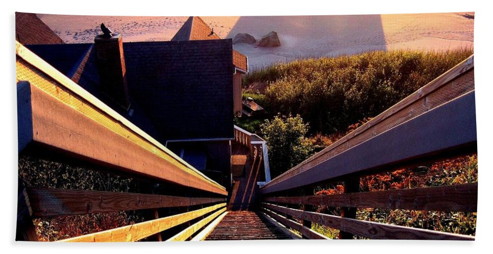 Stairway Beach Towel featuring the photograph The Long Long Stairway  by Will Borden