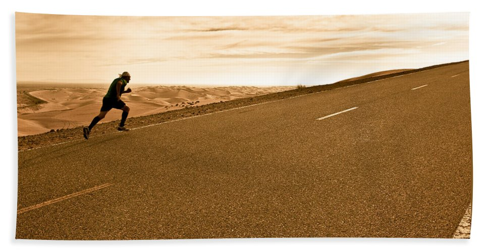 Run Beach Towel featuring the photograph The Long Road by Scott Sawyer