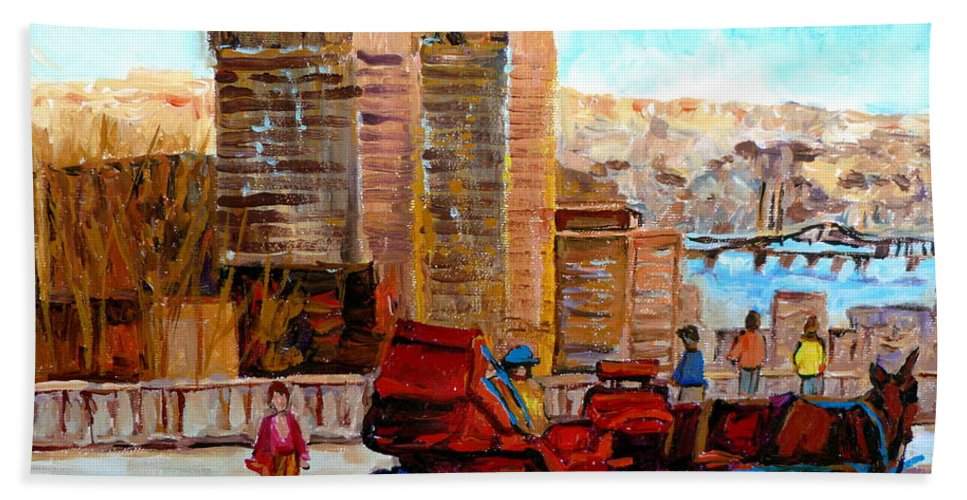 Montreal Street Scene Beach Towel featuring the painting The Lookout On Mount Royal Montreal by Carole Spandau