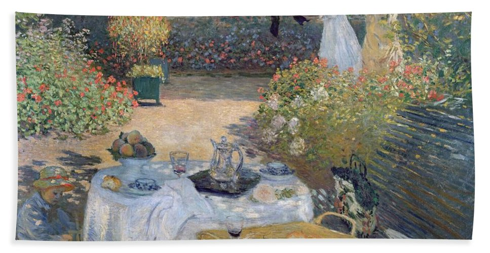 The Luncheon: Monet's Garden At Argenteuil Beach Towel featuring the painting The Luncheon by Claude Monet
