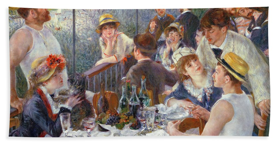 The Beach Towel featuring the painting The Luncheon of the Boating Party by Pierre Auguste Renoir