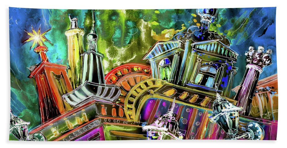 Czech Republic Beach Towel featuring the painting The Magical Rooftops Of Prague 02 by Miki De Goodaboom