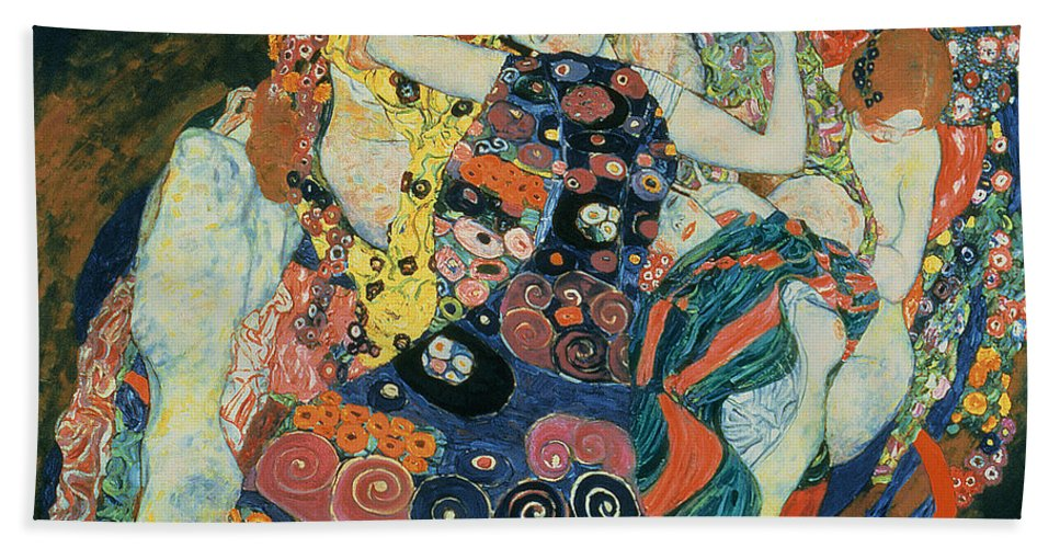 The Maiden Beach Towel featuring the painting The Maiden by Gustav Klimt