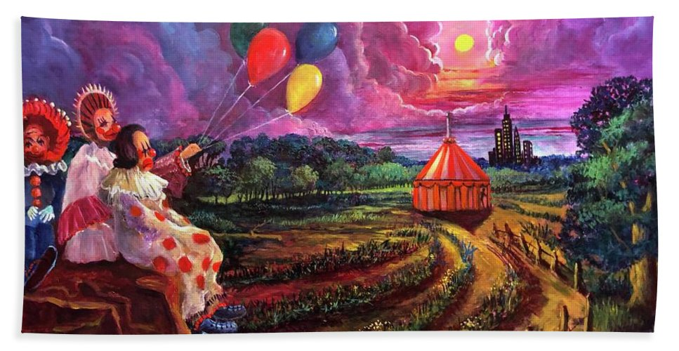 Clowns Beach Towel featuring the painting The Man In The Tent by Randy Burns
