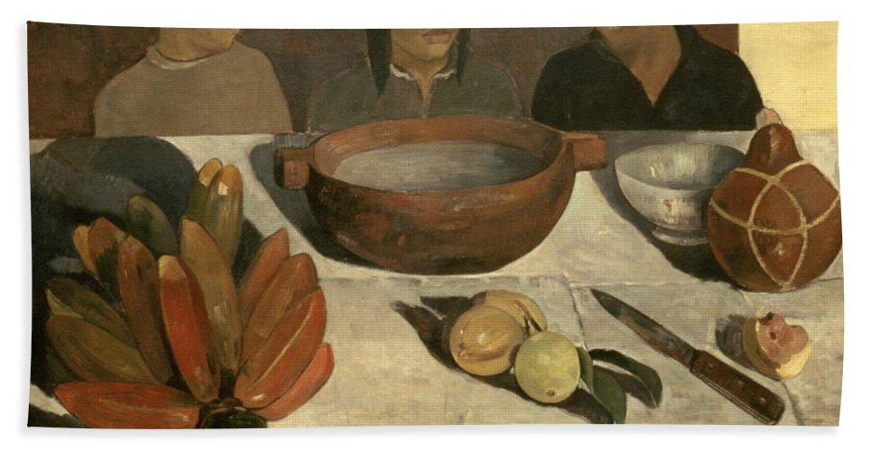The Meal The Meal (the Bananas) Beach Towel featuring the painting The Meal by Paul Gauguin