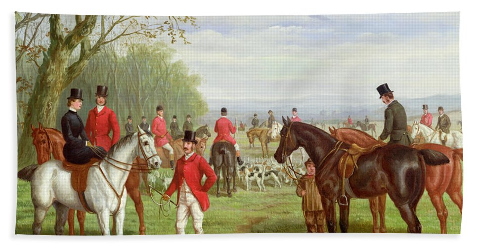 The Beach Towel featuring the painting The Meet by Edward Benjamin Herberte