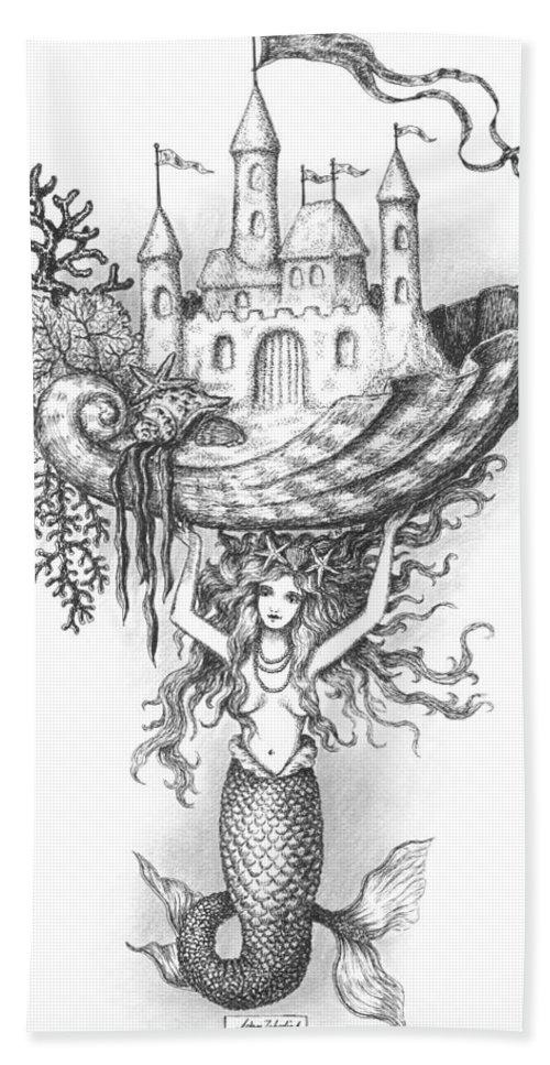 Black Beach Towel featuring the drawing The Mermaid Fantasy by Adam Zebediah Joseph