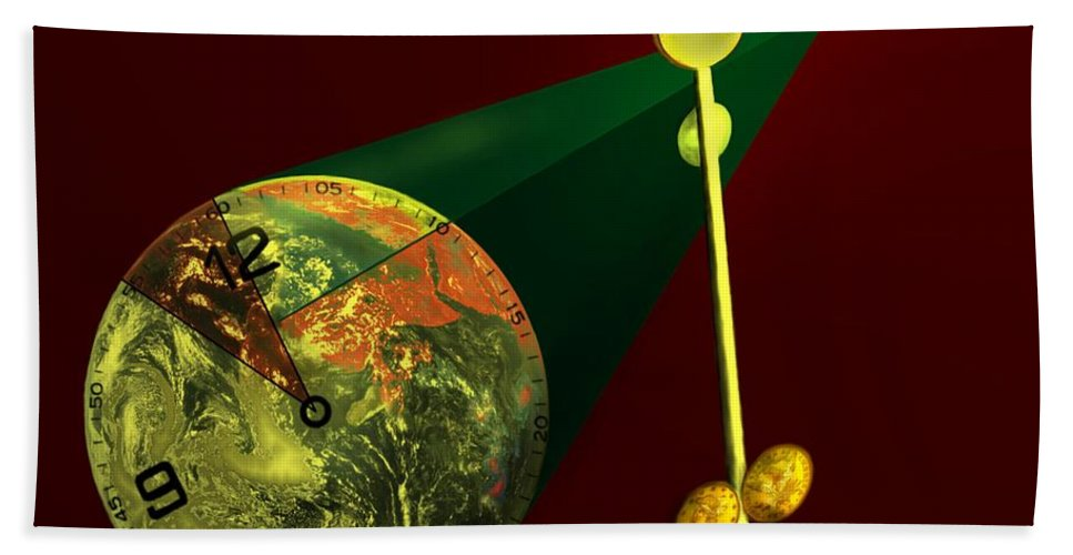 Earth Beach Towel featuring the digital art The Metronome by Helmut Rottler
