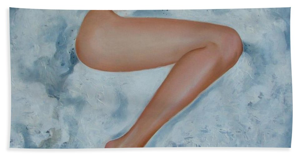 Art Beach Towel featuring the painting The Milk Bath by Sergey Ignatenko