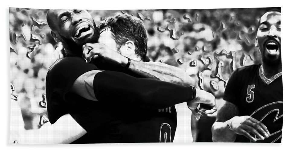 Lebron James Beach Towel featuring the mixed media The Miracle At The Oracle 2 by Brian Reaves