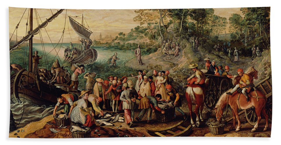 Joachim Beuckelaer Beach Towel featuring the painting The Miraculous Draught Of Fishes by Joachim Beuckelaer