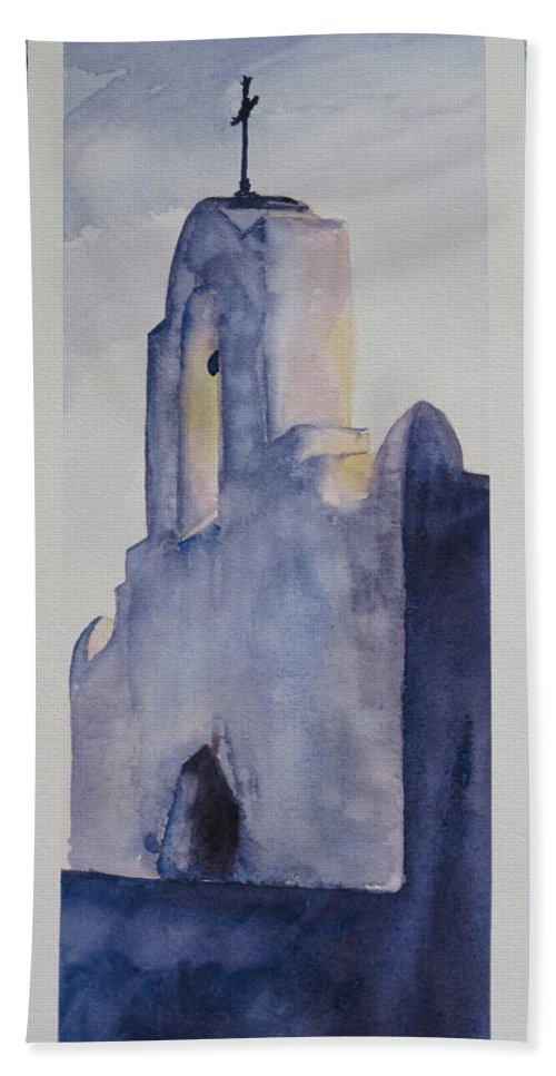 Texas Mission Beach Towel featuring the painting The Mission In Evening Shadow by Karen Boudreaux