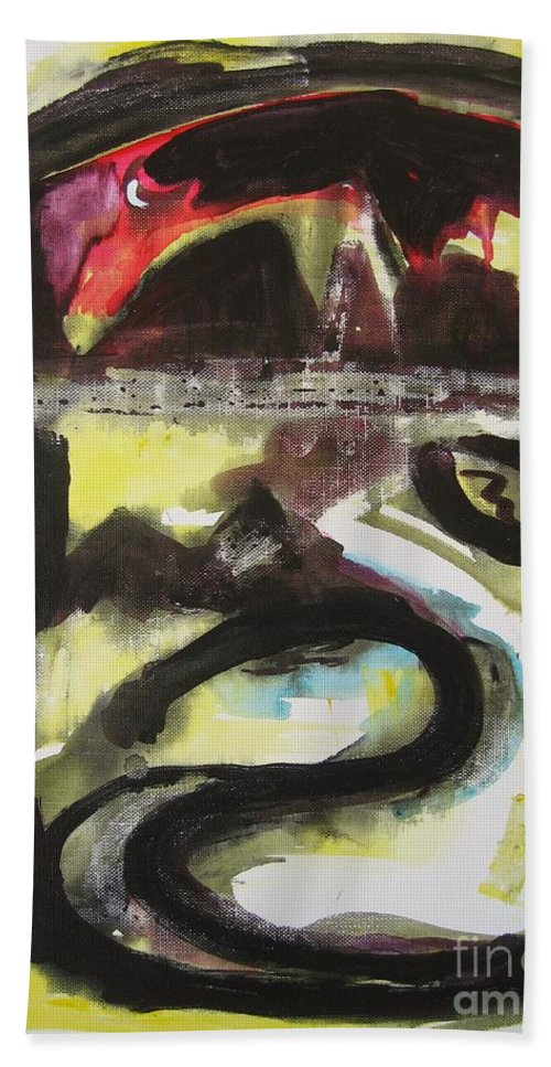 Abstract Paintings Beach Towel featuring the painting The Moon Compassionate by Seon-Jeong Kim