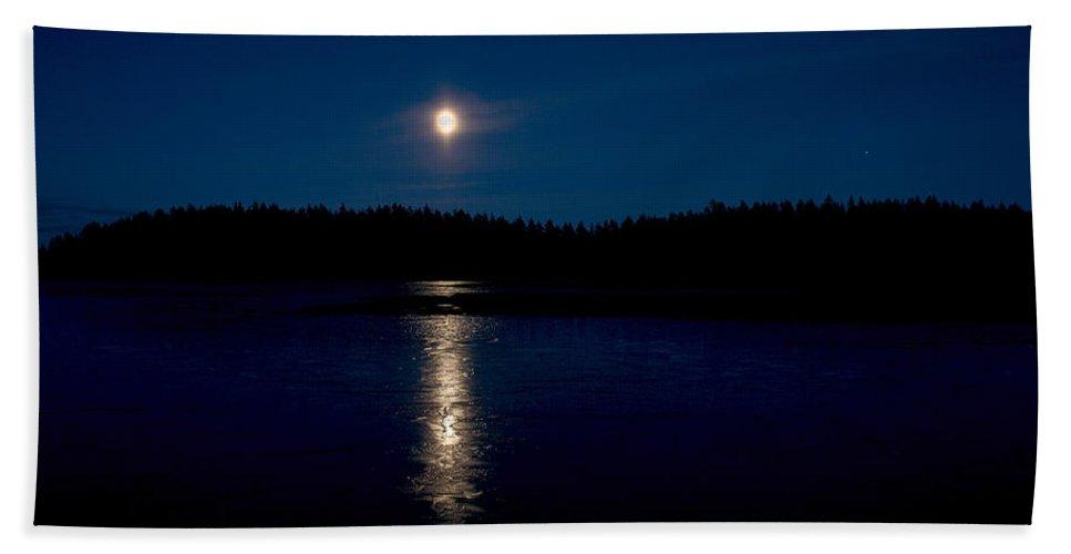 Lehtokukka Beach Towel featuring the photograph The Moon Over Saari-soljanen 2 by Jouko Lehto
