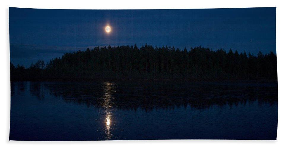Lehtokukka Beach Towel featuring the photograph The Moon Over Saari-soljanen by Jouko Lehto