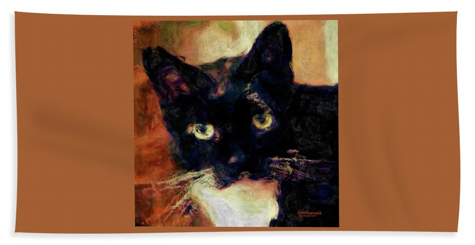 Cat Beach Towel featuring the digital art The Most Beautiful Soul In Heaven by Diane Parnell