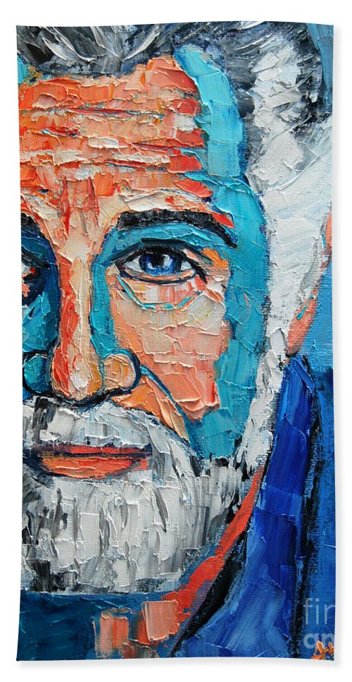 The Beach Towel featuring the painting The Most Interesting Man In The World by Ana Maria Edulescu